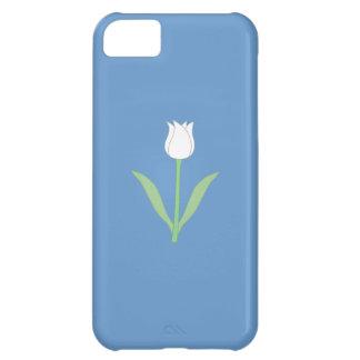 Tulipe blanche sur le bleu coque iPhone 5C