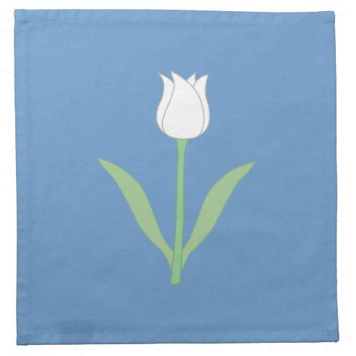 Tulipe blanche sur le bleu serviette imprimée