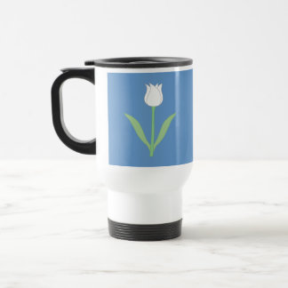 Tulipe blanche sur le bleu mugs à café