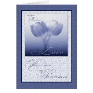 Tulipe bleue d'anniversaire de mariage de mari carte de vœux