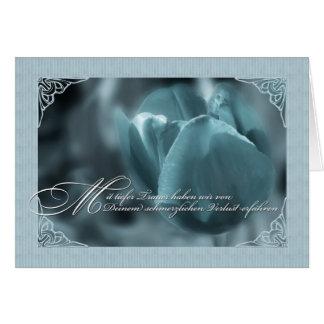 Tulipe bleue de carte de sympathie de langue