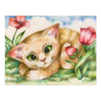 Tulipe Kitty - carte postale d'art de chat