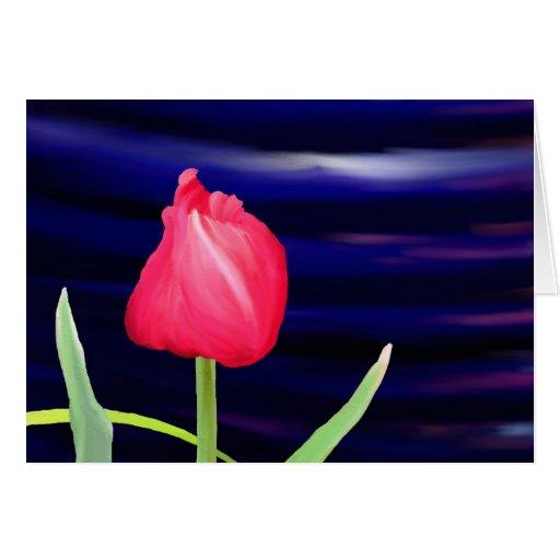 Tulipe sur le pot bleu cartes de vœux