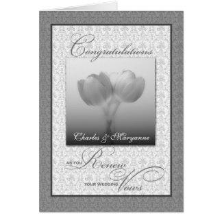 Tulipes argentées de félicitations de carte de vœux
