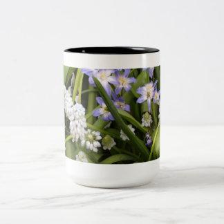Tulipes blanches bleues néerlandaises tasses