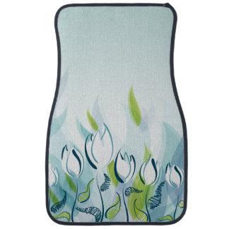 Tulipes bleues abstraites tapis de voiture