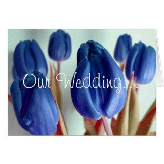 Tulipes bleues carte de vœux