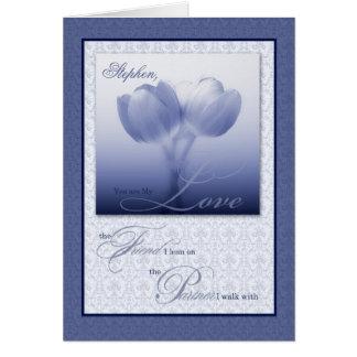 Tulipes bleues d'anniversaire de mariage d'associé carte de vœux