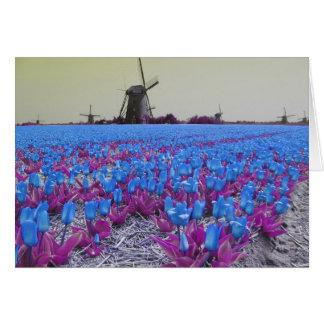 Tulipes bleues d'art de bruit carte de vœux