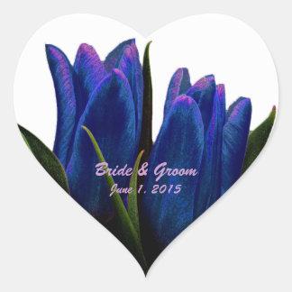 Tulipes bleues épousant des autocollants