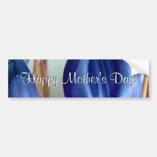 Tulipes bleues heureuses du jour de mère autocollant de voiture