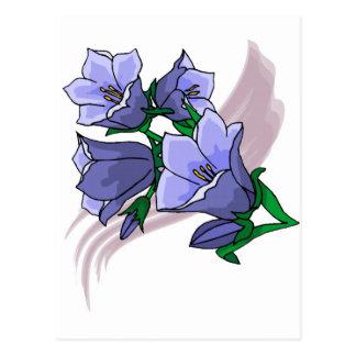 Tulipes bleues sur le remous de prune carte postale