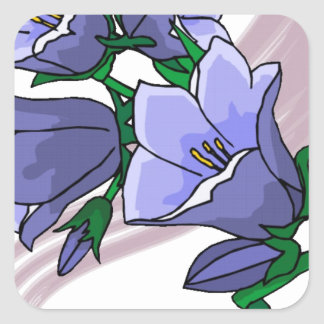 Tulipes bleues sur le remous de prune sticker carré