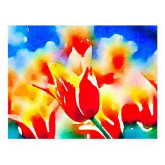 Tulipes d'aquarelle cartes postales