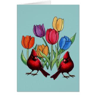Tulipes et cardinaux carte