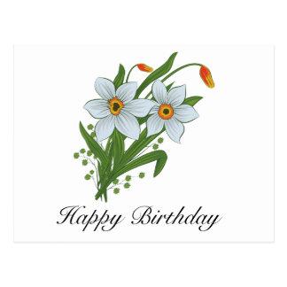 Tulipes et fleurs de jonquilles carte postale