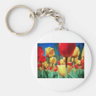 tulipes jaunes et rouges porte-clé