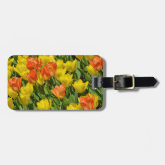 Tulipes oranges et jaunes de ressort étiquette à bagage