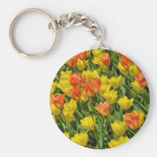 Tulipes oranges et jaunes de ressort porte-clefs