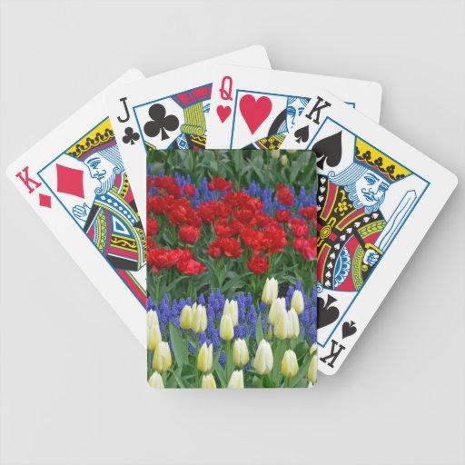 Tulipes rouges et blanches de ressort cartes de poker