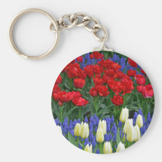 Tulipes rouges et blanches de ressort porte-clé