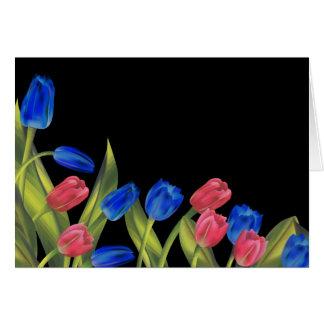 Tulipes rouges et bleues carte de vœux