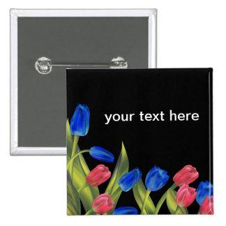 Tulipes rouges et bleues macaron carré 5 cm