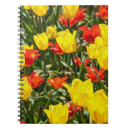 Tulipes rouges et jaunes carnets à spirale