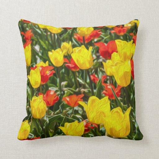 Tulipes rouges et jaunes oreillers