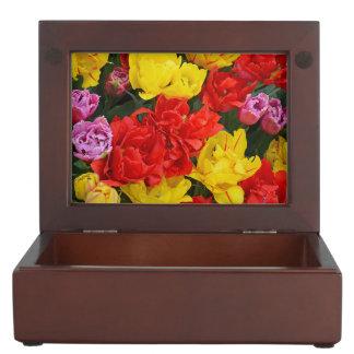 Tulipes rouges et jaunes de ressort boîtes à souvenirs