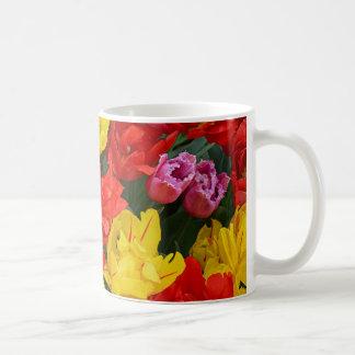 Tulipes rouges et jaunes de ressort mug blanc