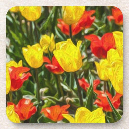 Tulipes rouges et jaunes sous-bock