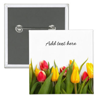 Tulipes rouges et jaunes macaron carré 5 cm