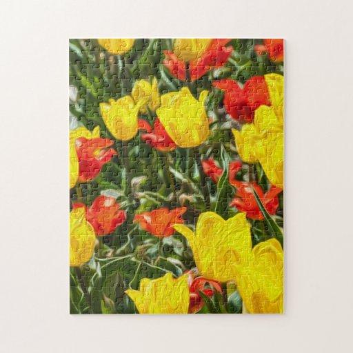Tulipes rouges et jaunes puzzles avec photo