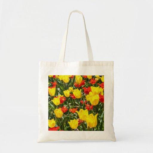 Tulipes rouges et jaunes sacs de toile