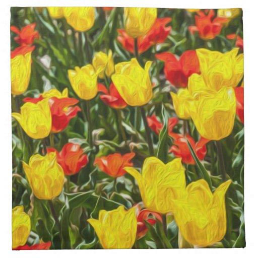 Tulipes rouges et jaunes serviettes en tissus