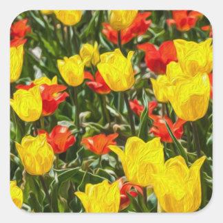 Tulipes rouges et jaunes sticker carré