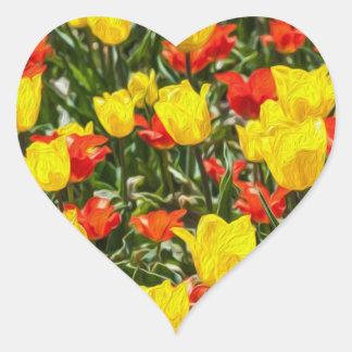 Tulipes rouges et jaunes sticker cœur
