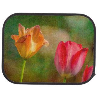 Tulipes rouges et jaunes sur l'arrière - plan tapis de sol