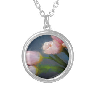 Tulips 3 silver plated necklace