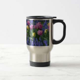 Tulips and bluebells garden travel mug