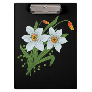 Tulips and Daffodils Flowers Black Background Clipboards