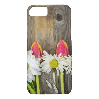 tulips and daisy on wood Case-Mate iPhone case