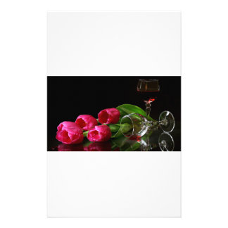 Tulips and Goblets Of Wine Customized Stationery