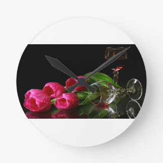 Tulips and Goblets Of Wine Wall Clock