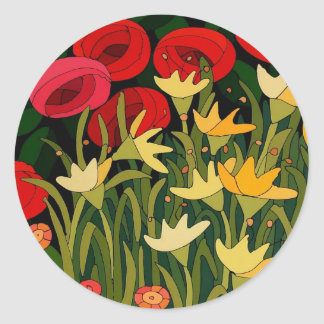 Tulips and Roses Classic Round Sticker
