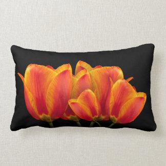 Tulips - Black Background Lumbar Pillow