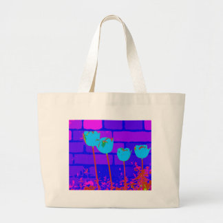 TULIPS BLUE LARGE TOTE BAG