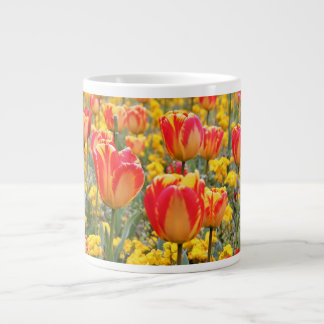 Tulips, Bright and colorful yellow and red Large Coffee Mug