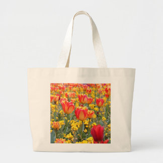 Tulips, Bright and colorful yellow and red Large Tote Bag
